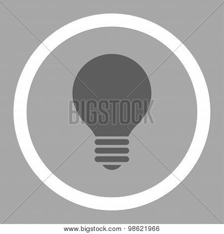 Electric Bulb flat dark gray and white colors rounded raster icon