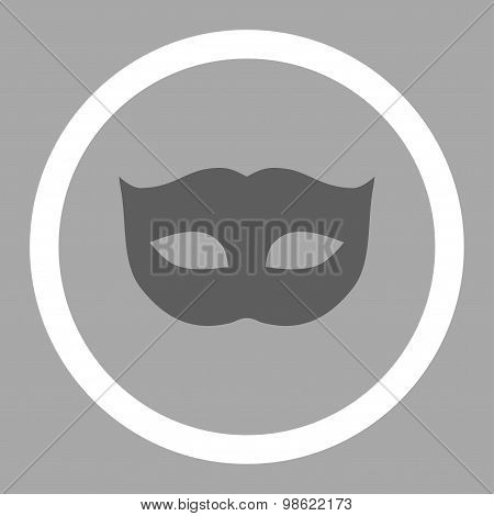 Privacy Mask flat dark gray and white colors rounded raster icon