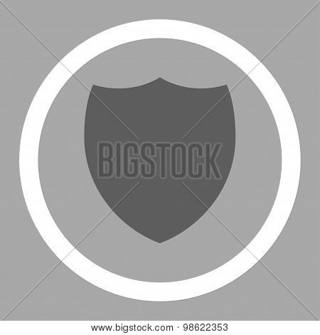 Shield flat dark gray and white colors rounded raster icon