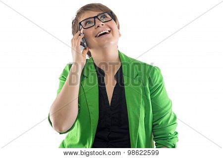 Image of happy woman speaking by phone