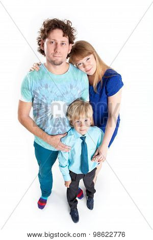 Caucasian Family From Father, Mother And Son, Portrait On White Background, Full-length