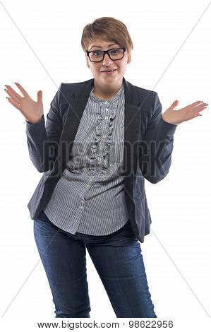 Photo surprised pudgy woman with open hands