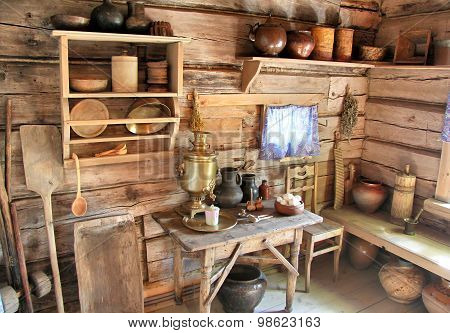 Interior of a classic russian wooden house izba
