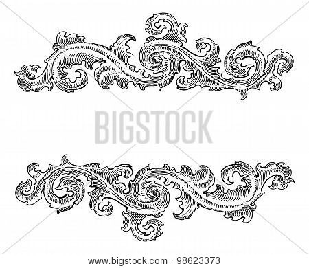 Beautiful Baroque  Style Decorative Calligraphy Floral Vector Ornament. Vintage Logo Title