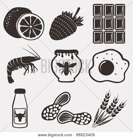 Allergy Food Icons Set