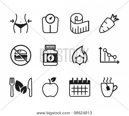 Set of diet icons // Black & White