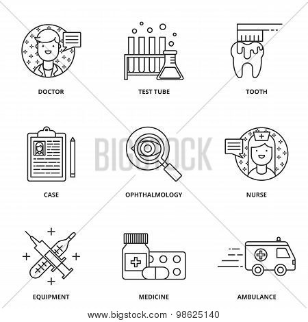 Medical Vector Icons Set Modern Line Style