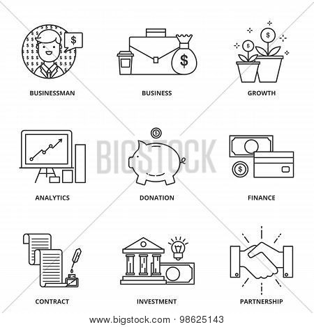 Banking And Finance Vector Icons Set Modern Line Style