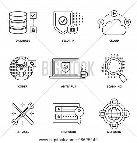 Computer Network And Security Vector Icons Set Modern Line Style