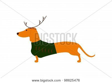 Dachshund In Christmas Suit