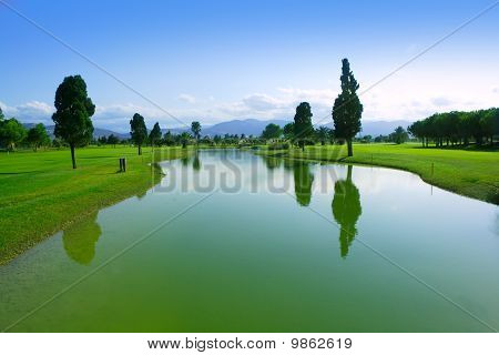 Golfplatz Green Grass Field besinnung binnensee