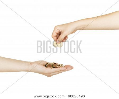 Female Putting Coin In A Safety Female Hand