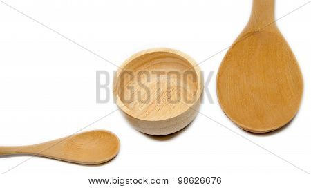 Empty Wood Spoon  Ladle And Bowl Isolated