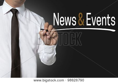 News And Events Written By Businessman Background