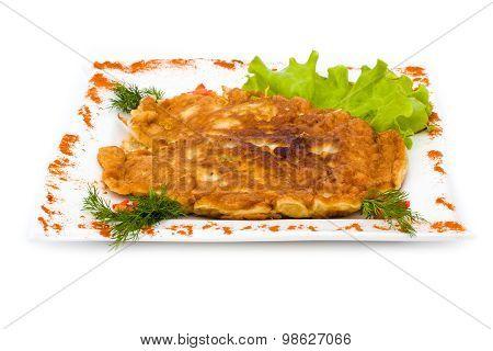 chicken pie isolated on white