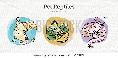 Pet Reptiles - Watercolor Vectors