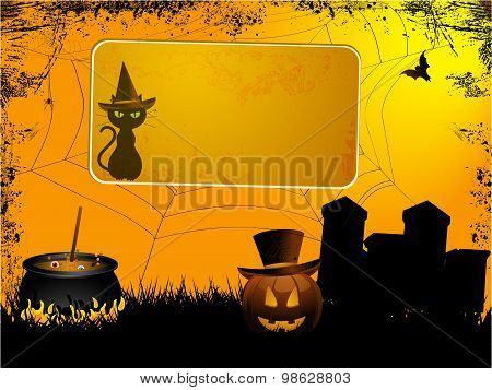 Halloween Sign Over Spooky Background