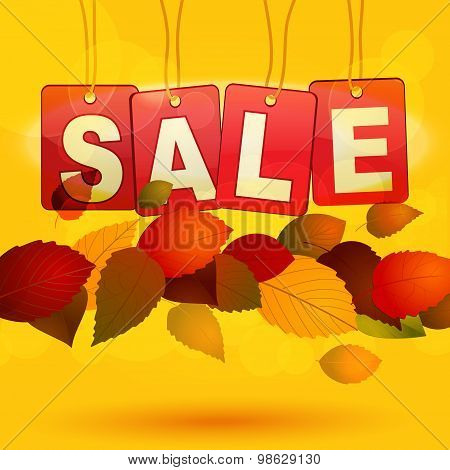 Sale Tags With Autumn Leafs