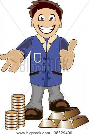 Funny cartoon illustration of a smiling bankeer