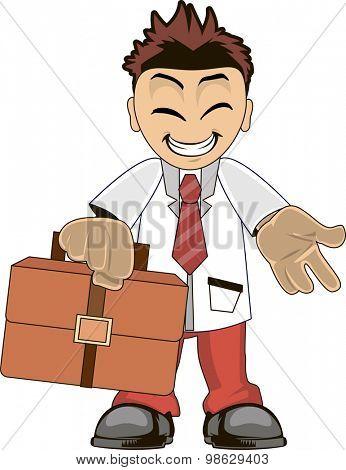 Funny cartoon illustration of a smiling businessman