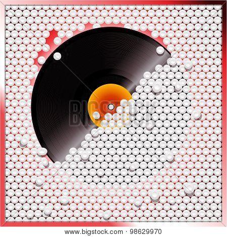 Vinyl Record Breaking White 3D Circular Tiles Wall