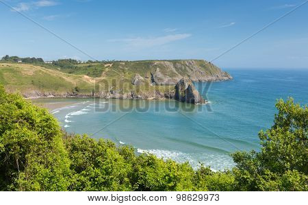 Three Cliffs Bay south coast the Gower Peninsula Swansea Wales uk beautiful view popular tourist
