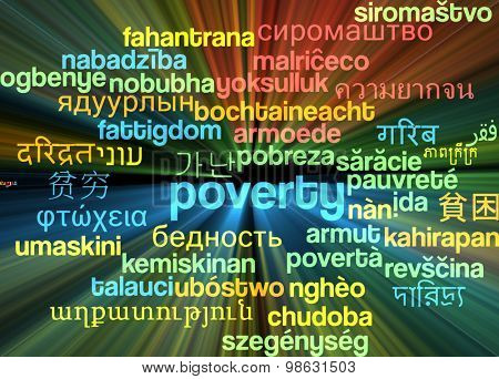 Background concept wordcloud multilanguage international many language illustration of poverty glowing light