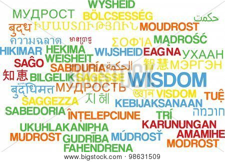 Background concept wordcloud multilanguage international many language illustration of wisdom