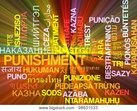 Background concept wordcloud multilanguage international many language illustration of punishment glowing light