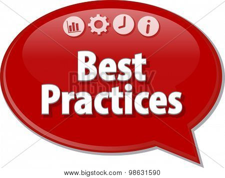 Speech bubble dialog illustration of business term saying Best Practices