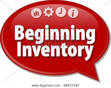 Speech bubble dialog illustration of business term saying Beginning Inventory