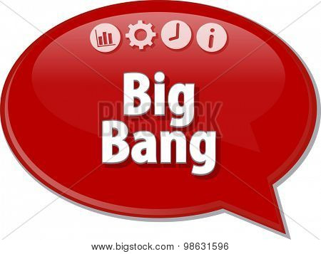 Speech bubble dialog illustration of business term saying Big Bang