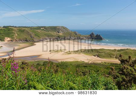 The Gower coast Three Cliffs Bay South Wales uk beautiful view popular tourist destination