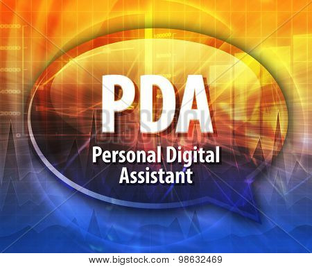 Speech bubble illustration of information technology acronym abbreviation term definition PDA Personal Digital Assistant