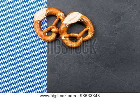 Slate Plate With Pretzels With A Bavarian Diamond Pattern