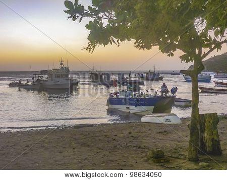Fishing Boats At Taganga Bay In Colombia