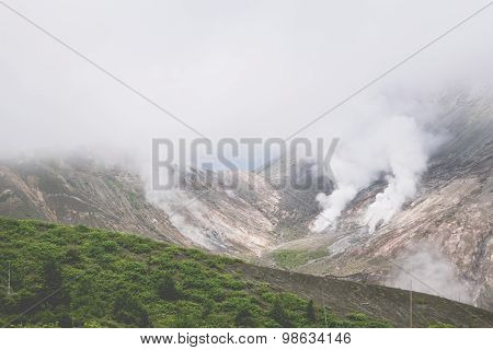 Mount Usu, Active Volcano At The South Of Lake Toya, Hokkaido, Japan
