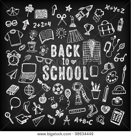 Back To School Illustration. Sketch Set.