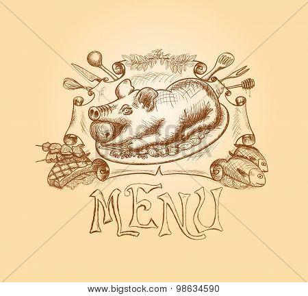 Vector hand drawn menu title design