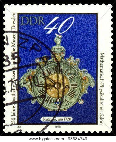 Vintage Postage Stamp. Clock.