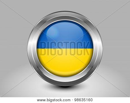 Flag Of Ukraine. Metal Round Icon