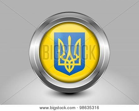 Ukraine Coat Of Arms. Metal Round Icon
