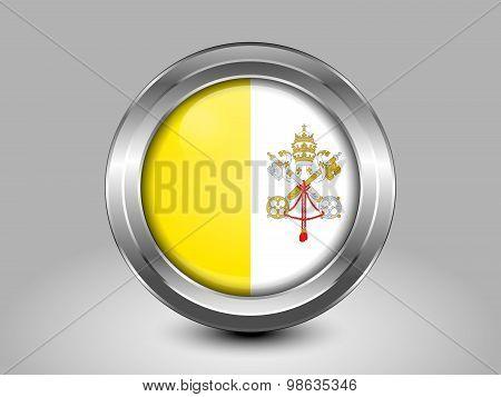 Flag Of Vatican City. Metal Round Icon