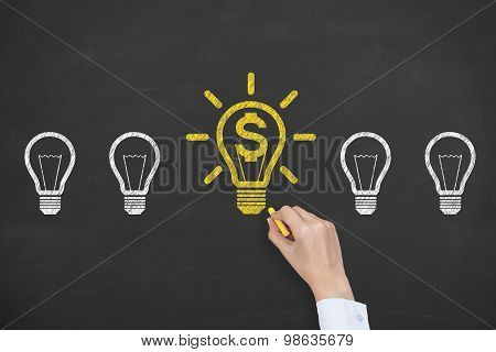 Finance Idea Light Bulb Conceptual Working on Blackboard