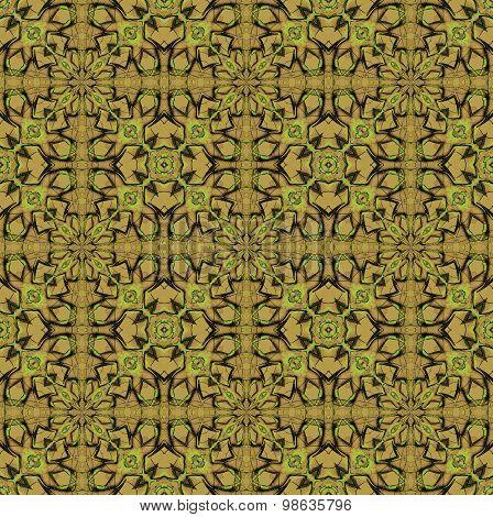 Seamless pattern ocher brown green