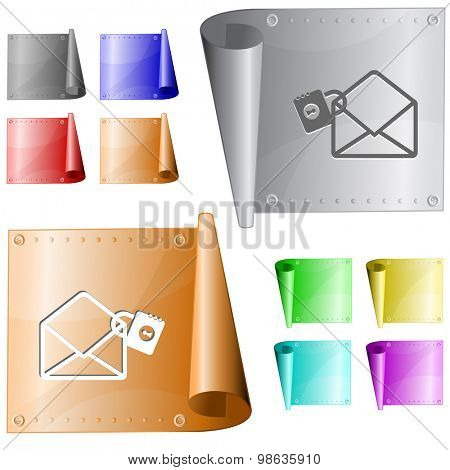 open mail with lock. Vector metal surface.
