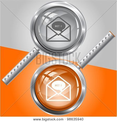 open mail with chat. Vector magnifying glass.