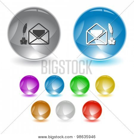 mail with feather and inkstandn . Vector interface element.