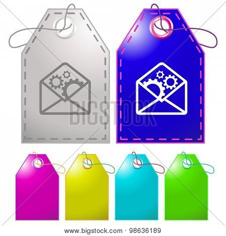 open mail with gears. Vector tags.