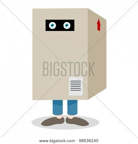 An image of a figure hiding in a box.